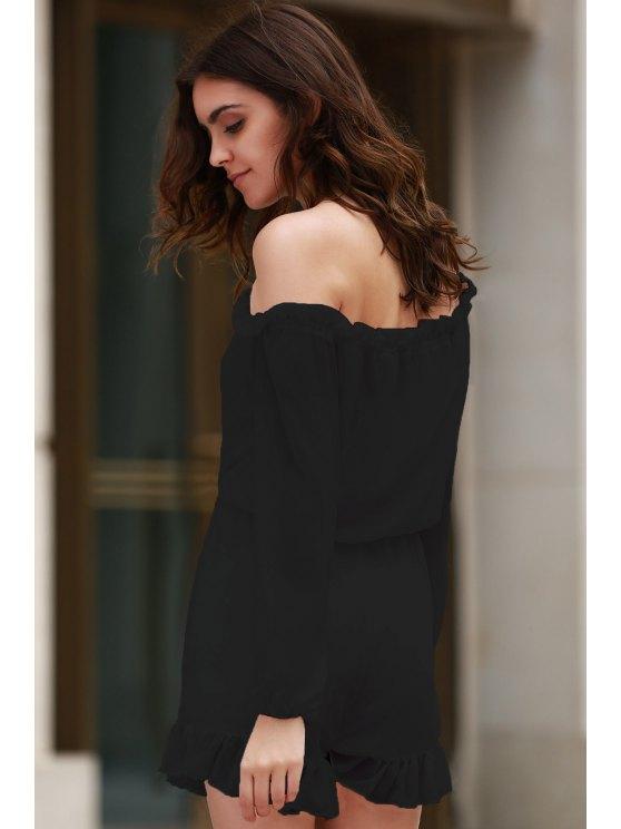 Solid Color Off The Shoulder Long Sleeve Romper - BLACK 2XL Mobile