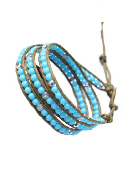 outfits Bead Multi-Layered Wrap Bracelet - LAKE BLUE