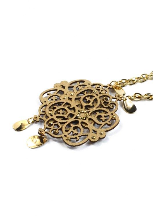 Hollow Out Floral Shape Pendant Necklace -   Mobile
