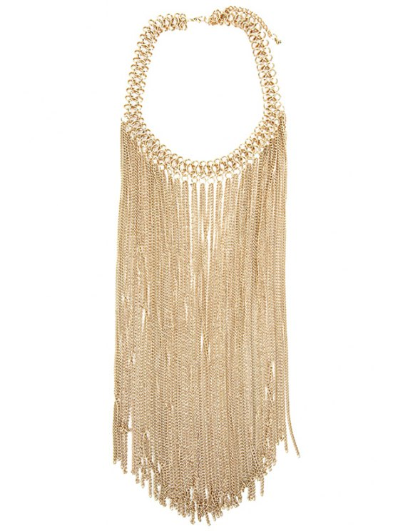 buy Link Chain Fringed Necklace - GOLDEN