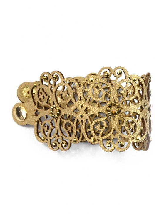 Faux Leather Chunky Flower Bracelet - BROWN  Mobile
