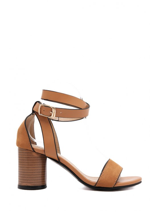 new Solid Color Strap Chunky Heel Sandals - LIGHT BROWN 38