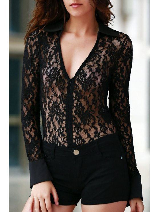 Crochet Flower Zipper design Bodysuit dentelle - Noir XS