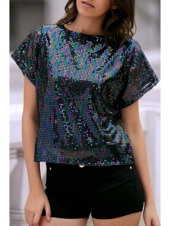 Manga corta con lentejuelas brillantes de la camiseta - Negro XL