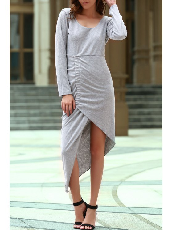 womens Backless Scoop Neck Long Sleeve Asymmetric Dress - GRAY M