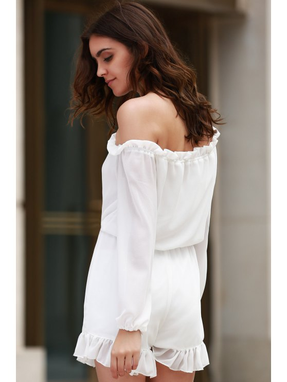 Solid Color Off The Shoulder Long Sleeve Romper - WHITE XL Mobile