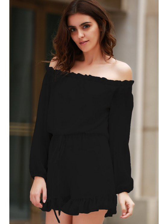 Solid Color Off The Shoulder Long Sleeve Romper - BLACK 3XL Mobile