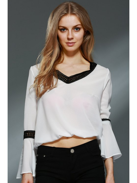 Lace Spliced V-Neck Bell Sleeve Blouse - WHITE XS Mobile