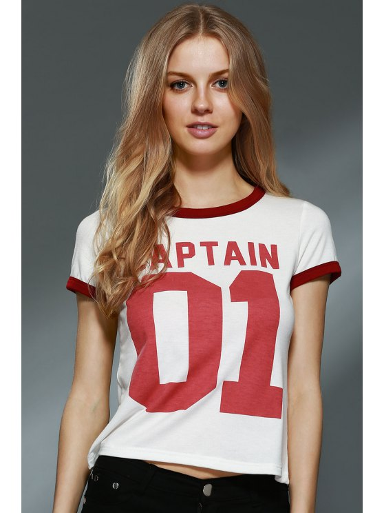 Letter Print Round Collar Short Sleeve T-Shirt - OFF-WHITE L Mobile