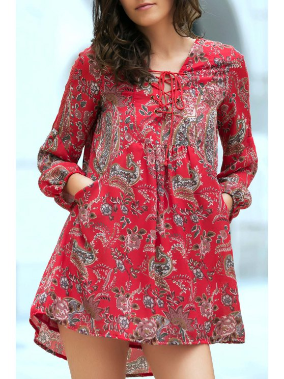 unique Ethnic Style Print V Neck Long Sleeve Dress - RED L
