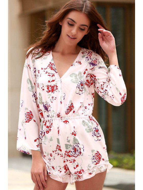 ladies Cross-Over Collar Long Sleeve Floral Playsuit - PINK 2XL