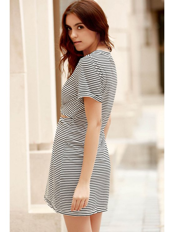 Striped Round Collar Short Sleeve Knotted Cut Out Dress - WHITE AND BLACK L Mobile
