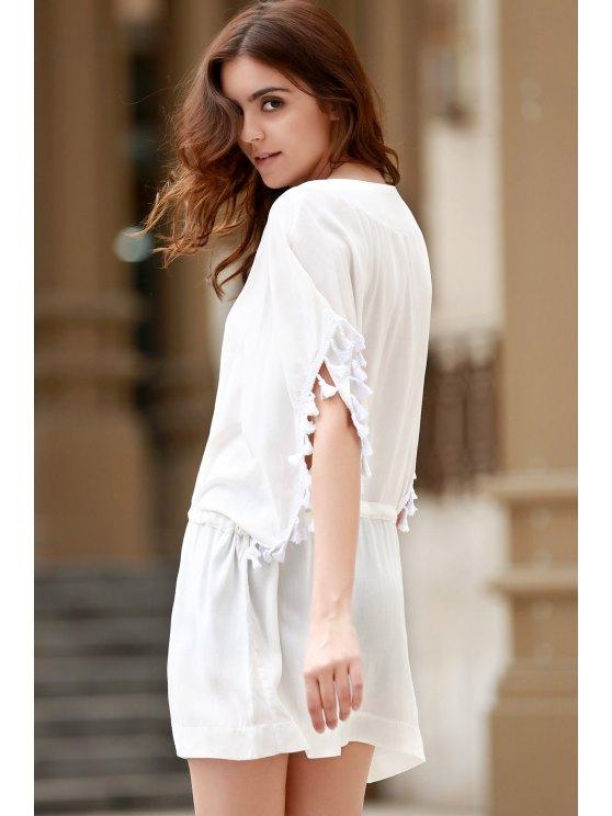 Solid Color V-Neck Batwing Sleeve Drawstring Dress - WHITE L Mobile