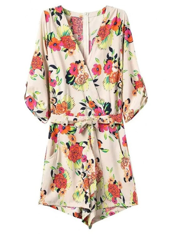 chic Casual Flower Print V Neck 3/4 Sleeve Playsuit - OFF-WHITE M