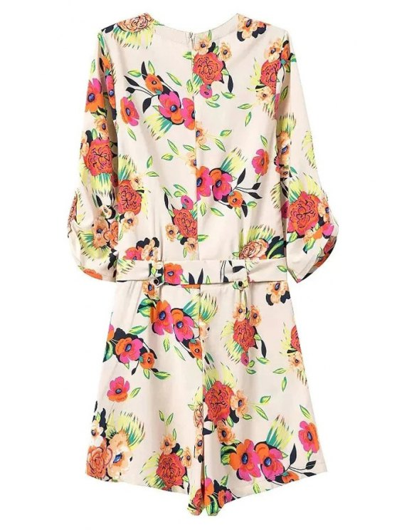 Casual Flower Print V Neck 3/4 Sleeve Playsuit - OFF-WHITE S Mobile