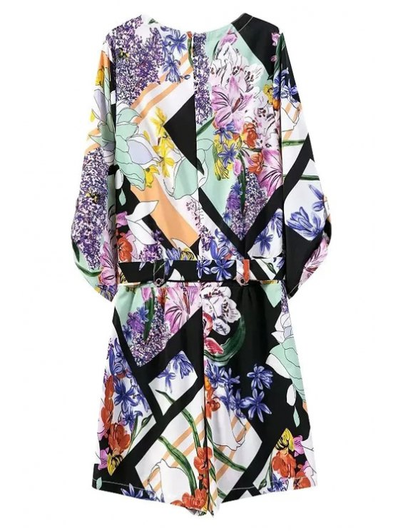 Floral Print V Neck 3/4 Sleeve Romper - BLUE L Mobile