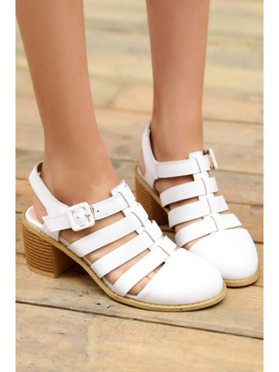 Closed Toe Buckle Chunky Heel Sandals - WHITE 38 Mobile