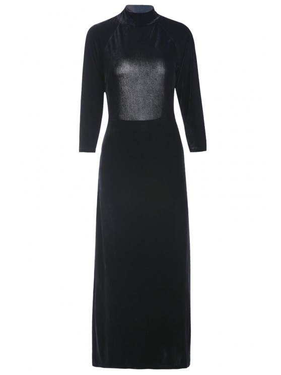Haute Slit Mock Neck Backless Velvet Dress - Noir 2XL