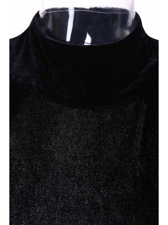 High Slit Mock Neck Velvet Backless Dress - BLACK 2XL Mobile