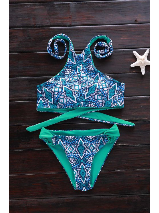 latest Green Print High Neck Bikini Set - GREEN L