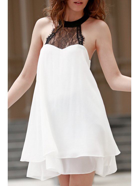 Acodado doble-cabestro vestido de la gasa del cordón de empalmado - Blanco XL