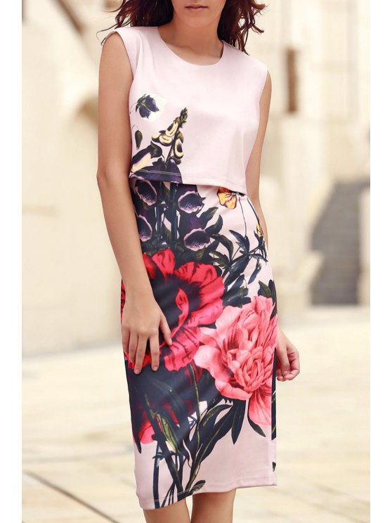 shops Floral Print Round Collar Sleeveless Dress - PINK M