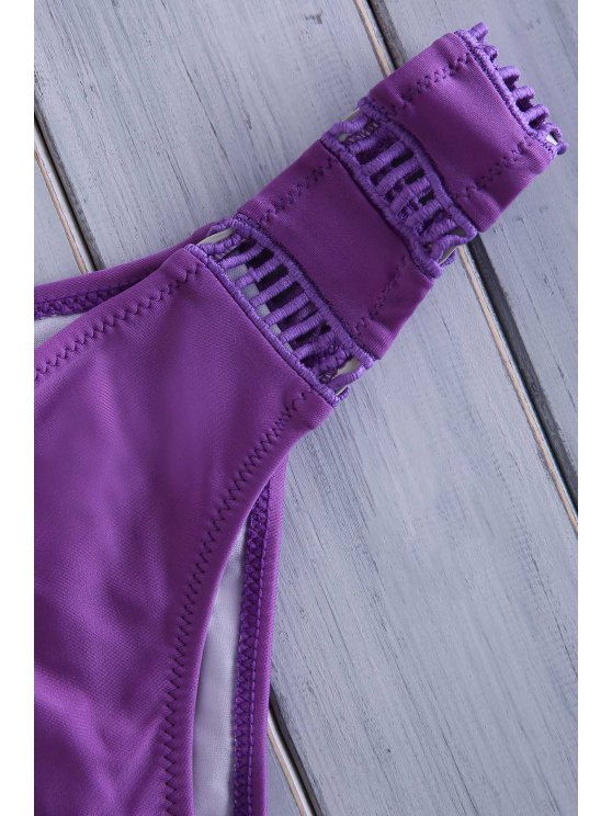 Crochet Spliced High Neck Bikini Set - PURPLE L Mobile