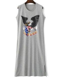 Eagle Print Round Collar Sleeveless Side Slit Dress - Gray L