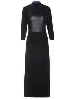 High Slit Mock Neck Velvet Backless Dress - Black 2xl