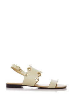 Metallic Eyelet Flat Heel Sandals - Off-white 38