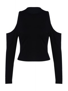 Pure Color Round Collar Cold Shoulder T-Shirt - Black L