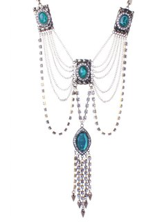 Delicate Faux Crystal Rhinestone Tassel Sweater Chain - Blue