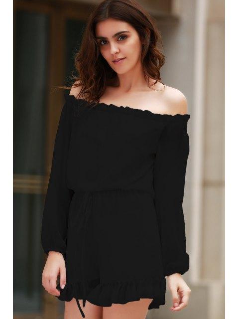 fancy Solid Color Off The Shoulder Long Sleeve Romper - BLACK M Mobile