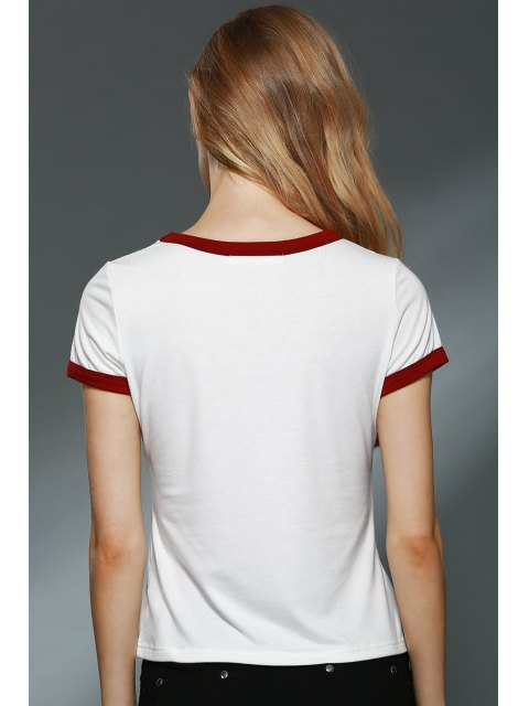 outfits Letter Print Round Collar Short Sleeve T-Shirt - OFF-WHITE L Mobile