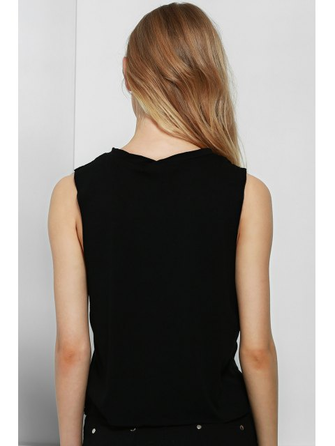 lady Letter Print Round Collar Tank Top - BLACK S Mobile