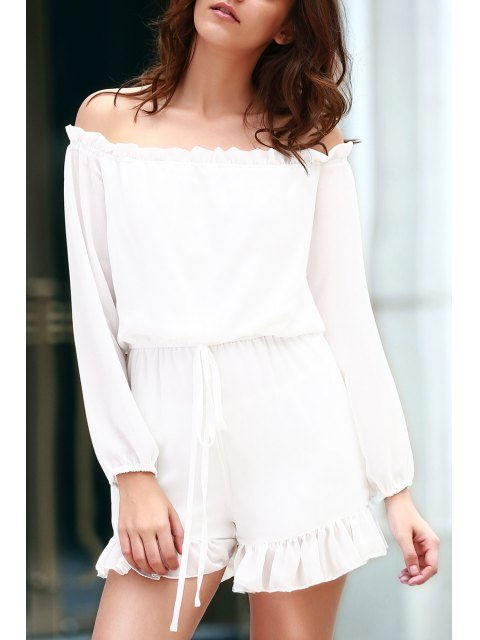 ladies Solid Color Off The Shoulder Long Sleeve Romper - WHITE XL Mobile