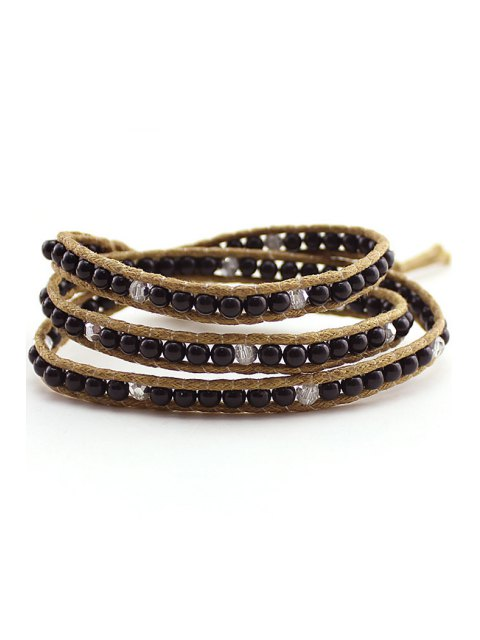 shop Bead Multi-Layered Wrap Bracelet - BLACK  Mobile