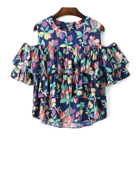 chic Cold Shoulder Round Collar Multi-Layered Blouse - COLORMIX M Mobile