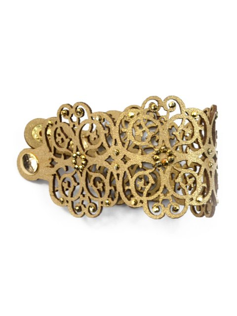 hot Faux Leather Chunky Flower Bracelet - BROWN  Mobile