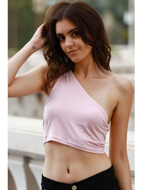 shop Wrapped Chest One Shoulder Cropped Tank Top - PINK L Mobile