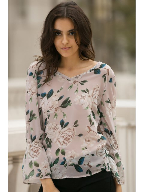 fashion Flower Print V Neck Flare Sleeve Chiffon Blouse - PINK XS Mobile