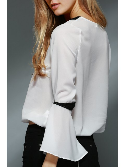 shops Lace Spliced V-Neck Bell Sleeve Blouse - WHITE M Mobile