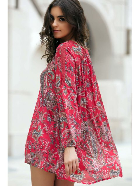 unique Ethnic Style Print V Neck Long Sleeve Dress - RED L Mobile