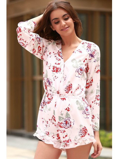 buy Cross-Over Collar Long Sleeve Floral Playsuit - PINK S Mobile