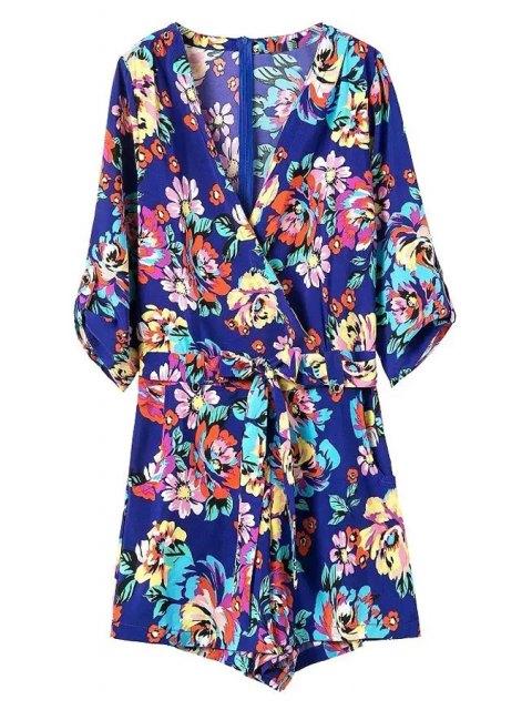 sale Casual Flower Print V Neck 3/4 Sleeve Playsuit - BLUE M Mobile