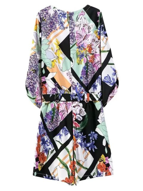 shop Floral Print V Neck 3/4 Sleeve Romper - BLUE L Mobile