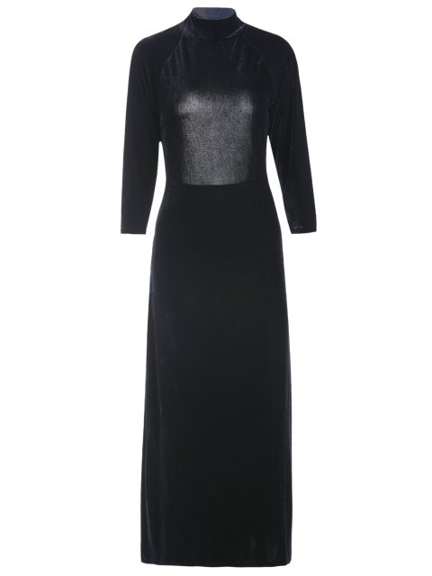 lady High Slit Mock Neck Velvet Backless Dress - BLACK 2XL Mobile