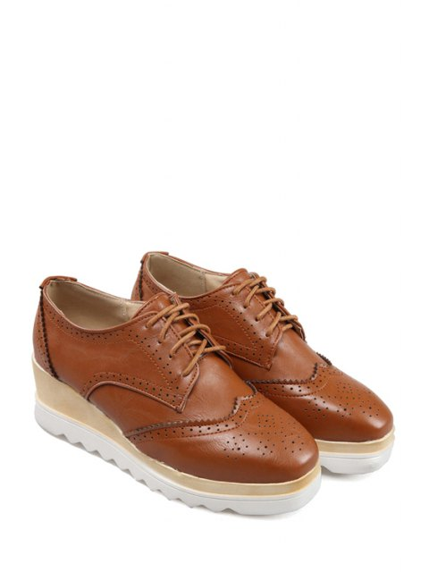 shop Engraving Lace-Up Square Toe Platform Shoes - BROWN 38 Mobile