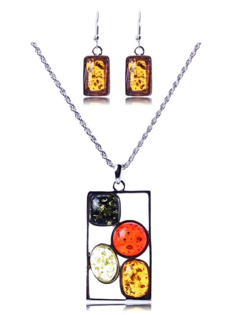 new Geometric Faux Amber Necklace and Earrings - SILVER  Mobile