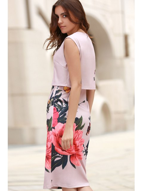 latest Floral Print Round Collar Sleeveless Dress - PINK L Mobile